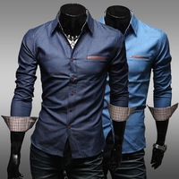2014 New fashion PU decoration pocket Mens Slim fit Unique stylish Dress long Sleeve Shirts casual Men dress shirts EF0950