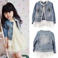 Free shipping Girls Kids Lace Cowboy Jacket Denim Top Button Costume Outfits Jean Coat 2-7T Drop shipping