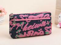 2014 Free shipping new fashion high quality Rose red Abstract graffiti shopping handbag ladies storage cosmetic bags