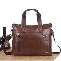 2014 New Vintage Casual Style Brown Color Genuine Leather Briefcases For Men Laptop Shoulder Bag Purse Messenger Bag Travel Bag