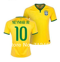 New arrival Top Thailand Quality Fans version 2014 Brazil Home yellow #10 NEYMAR JR #11 OSCAR Soccer Jersey Football Shirt