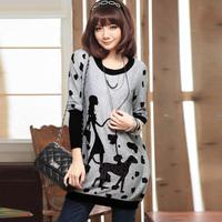 new 2014 Spring fashion plus size s-xxxl clothing mm loose long long-sleeve T-shirt