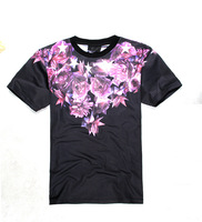 2014 new Fashion star rose rivet printed short sleeve men's unisex lovers' cotton t shirt,free shipping