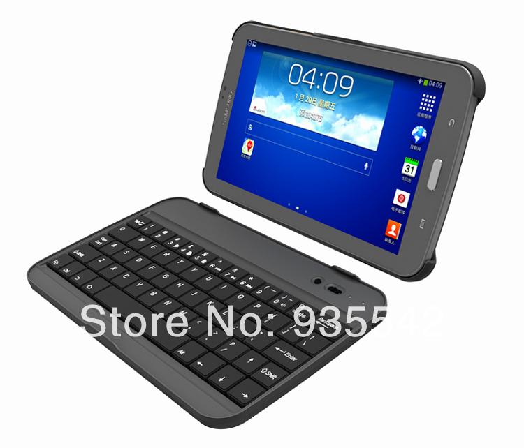 "(Black) Removable Aluminum Bluetooth Keyboard Hard Case + film + stylus for Samsung Galaxy Tab 3 7"" P3200 P3210 T210 T211(China (Mainland))"