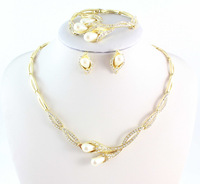 2014 Hot Sale Austrian Crystal Jewelry Sets Wedding 18K Gold Plated Necklace Bridal Jewelry Sets