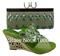 Italy shoes with matching bags, lady shoes, good material, free shipping by DHL, B215 green size 38-43