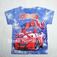 kid cartoon t-shirt summer short sleeve tee spider man design boy t-shirt