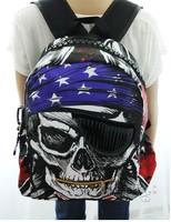 2014 New Arrival Unisex Skull printing school bag backpack men casual travel bag for women girls backpacks BB001