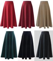 2014 autumn winter women new fashion wool skirt woolen long skirts floor-length maxi 5 colors black red purple navy casual