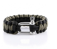 Black&OD green DIY stainless steel buckle paracord bracelet 2014 free shipping