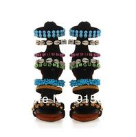 Free Shipping Embellished String Bead High Heel Gladiator Sandal Boots Women Flat Sandal Shoes Summer Elegant Celebrity Sandals