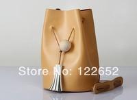2014 new cowhide genuine leather handbag bucket one shoulder restoring ancient bag free shipping B-26