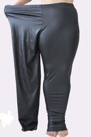 XL 3XL 5XL 2014 New Spring Autumn Women Leather Pencil Pants Oversize Tights Black Free Shipping