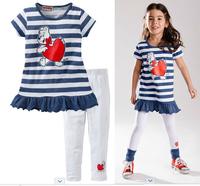fashion 2014 new summer children girls clothing sets bear love striped t-shirt + pants 2pcs suit free shipping