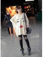 New Fashion Women Black  BeigeLong Batwing Bat Sleeve Loose Oversize Long T-shirt Casual Shirt Plus Size.A54