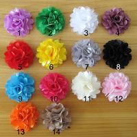 Free Shipping 50Pcs/Lot 2014 new fabric gauze flower handmade DIY chiffon flower hair accessory mesh satin flower headbands