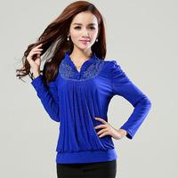 Free shipping 2014 new spring long sleeved Chiffon blouses flower lace shirt shirts fabric Korean version of women's dress code