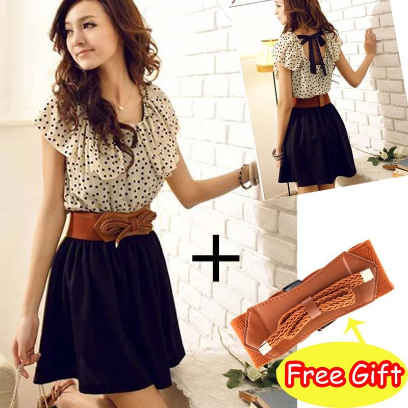 NEW! With belt! Fashion Women Lady Chiffon Dress Summer Short Dots Dress Polka Waist Mini Dress Backless, Free Shipping(China (Mainland))