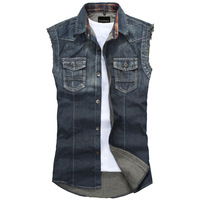 Free shipping Men's spring and summer slim trend vest men's denim vests