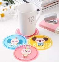 hot selling candy color cup mat silicone coasters 100pcs/lot free shipping