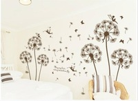 2014 new  The wind of the dandelion wall sticker Removable Wall Decor Wall Stickers bedroom livingroom sticker PVC  Wallpaper