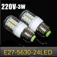 10pcs Free shipping New arrival  LED bulb  SMD 5630 E27  3w led corn bulb lamp, 24LED Warm white /white led lighting