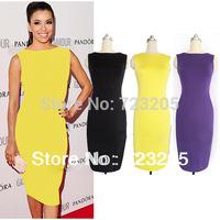 Wholesale Retail 2014 Hot Selling Womens New Fashion Sleeveless Sexy Bandage Summer Bodycon Slimming Club Party Midi Dresses