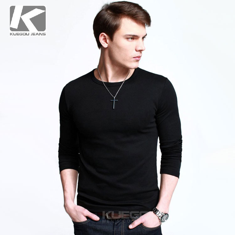 men 39 s t shirt casual slim fit tee shirts o neck long sleeve t shirt. Black Bedroom Furniture Sets. Home Design Ideas