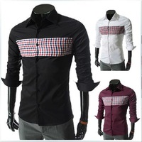 Spring 2014 new men's chest lattice hit color leisure shirt