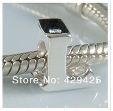 1PCS/lot 925 Sterling Silver Letter L Charm Beads Fits Bracelets Pandora Jewelry free shipping