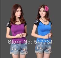 New Women Slim short-sleeved t-shirt original design printed round neck short sleeve women's national wind