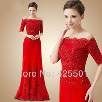 Bandage Dress Evening 2014  Long Party Dresses Elegant A-Line Short Sleeves  Red Lace Formal Evening Gowns vestidos de noche