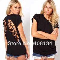HT1001 fashion t shirt for women laser backless angel wings women's White Black shorts tops & tees t-shirt autumn-summer XXL