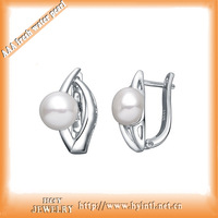 top quality silver jewelry 100% allergy free  platting real pearl pearl english lock stud earings as mother's day gift