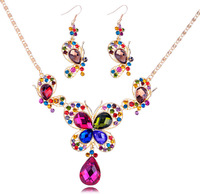 Lovely Butterfly Rhinestons Pave Jewelry Set Women's Custom Jewellery set Free Shipping   NE-068