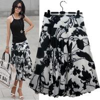 Spring And Summer 2015 Plus Size Fashion Chiffon Print A Line Medium Skirt ,Bohemia  Skirt