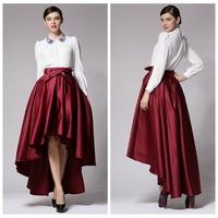 Free shipping 2014 new high fashion women's  Elegant  irregular big swing skirt Black/wine red