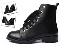 free shipping women's high quality elegant real leather high heeled platform lacing martin boots women's sexy winter shoes