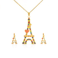 new fashion tower pendant jewelry sets Necklace earring design Golden stainless steel  for women party gift