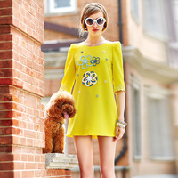 7009 2014 spring women's loose lace half sleeve o-neck one-piece dress
