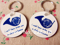 New Free Shipping 2pcs  Quality Cute and Lovely How I Met Your Mother Blue French Horn KeyChains ---Loveful