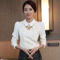 7014 long-sleeve 2014 spring women's slim shirt chiffon shirt lace shirt top