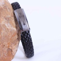In 2014 the new man titanium steel bracelet serpentine leather braided bracelet religious cross adorn article