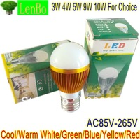 2 pcs/lot High Power E27 LED Lamp Cool Warm White Bulb 3W 4W 5W 9W 10W Light 110V 240V Globe Gold-case LB3