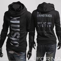 Fashion 2014wind personality letter print pullover slim coat sweatshirt Men hoodies Free Shipping