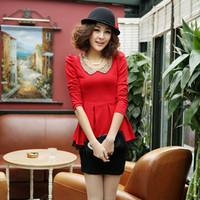 2014 women's slim spring and autumn basic shirt dresses 2836