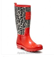 free shipping,Brand rainboots print low heels waterproof women wellies,rain boot,woman water shoes,5 colors