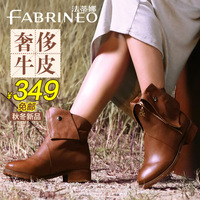 Fashion martin boots female metal decoration medium-leg boots genuine leather fashion female boots female shoes