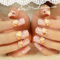 New 2014 Lace nail art married false nail art patch false nail beautiful bride