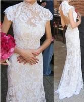 2014 new retro fishtail halter small tail, toast sexy lace dress free shipping
